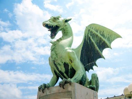 dragon: Famous statue of dragon on a Dragon bridge in Ljubljana, Slovenia Stock Photo