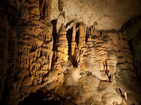 karst: Picturesque karst features illuminated in the cave