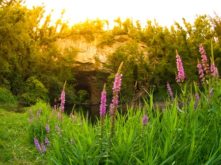 natural bridge: Big Natural Bridge on summer day, Rakov Skocjan, Slovenia Stock Photo