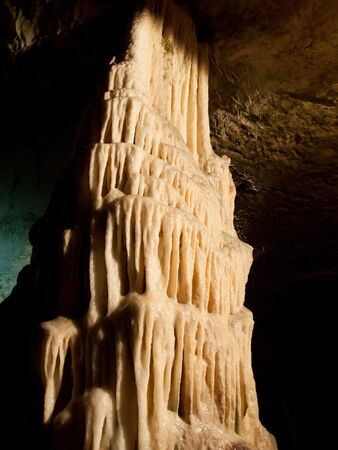 features: Picturesque karst features illuminated in the cave