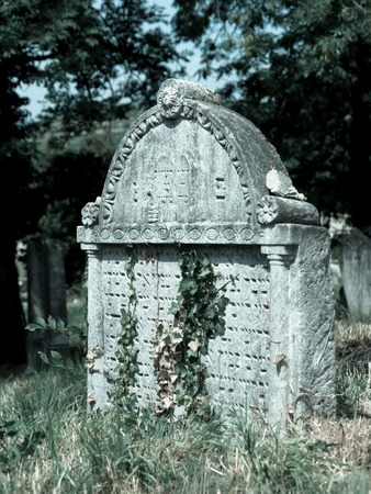 hebrew script: Old tombstones in Jewish cemetery, Mikulov, Czech Republic, cold tone image Stock Photo