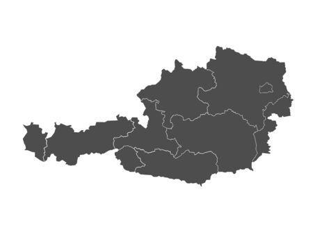 tirol: Blind map of Austria divided to regions, vector illustration Illustration
