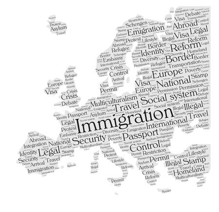 asylum: Immigration word cloud concept in a shape of Europe silhouette