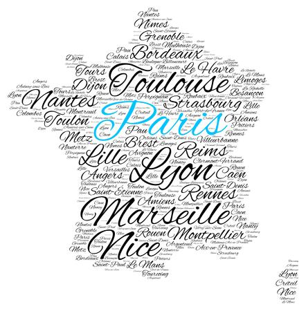 Word cloud in a shape of France contains large cities. City of Paris is blue, vector illustration