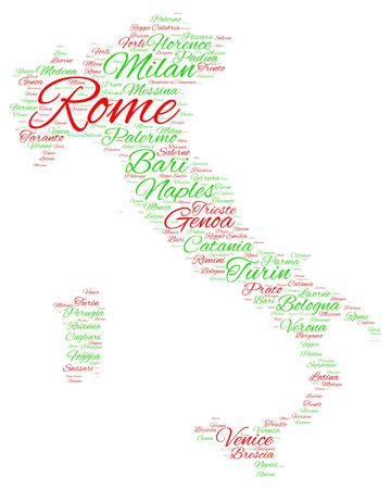 Word cloud in a shape of Italy contains large cities. Red and green text on white background, vector illustration