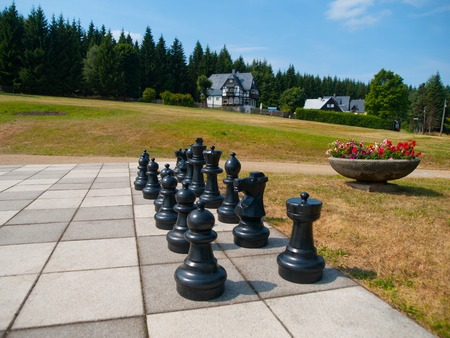 black giant: Black figures of giant outdoor chess in the park