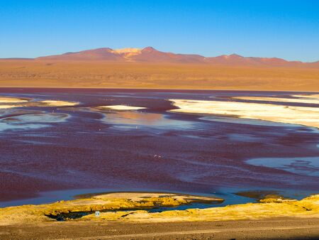 lipez: Laguna Colorada or Red Lagoon and typical brown mountains in bacground,, Reserva Nacional de Fauna Andina Eduardo Avaroa, Cordillera de Lipez, Bolivia Stock Photo