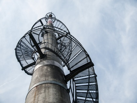 transmitter: Lookout tower with spiral staircase built on TV transmitter, Vlci Hora, Czech Republic, view from bottom
