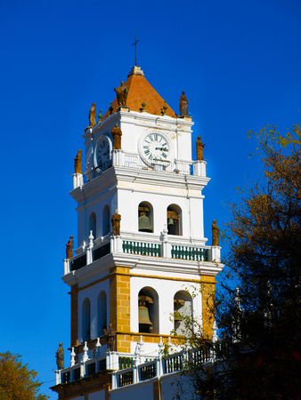 metropolitan: White tower of Metropolitan Cathedral in Sucre, Bolivia