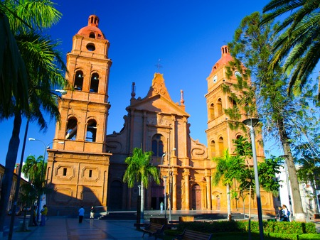 roman catholic: Red brick cathedral on main square, Roman Catholic Archdiocese of Santa Cruz de la Sierra, Bolivia