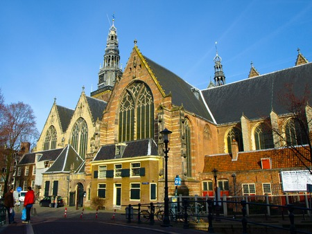 old church: View of Oude Kerk - Old Church, Amsterdam, Netherlands Stock Photo