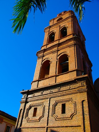 santa cruz: One of two red brick cathedral towers of Roman Catholic Archdiocese of Santa Cruz de la Sierra, Bolivia
