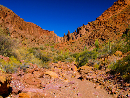 butch: Red rock formations in the dry valley - quebrada - of western-like landscape near small town Tupiza in southern Bolivia
