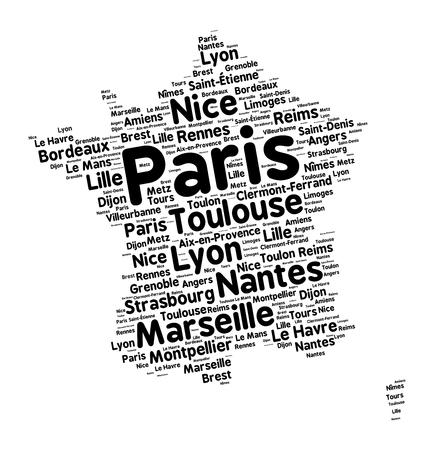 toulouse: Word cloud in a shape of France contains large french cities. Black text on white background in positive slope, vector illustration