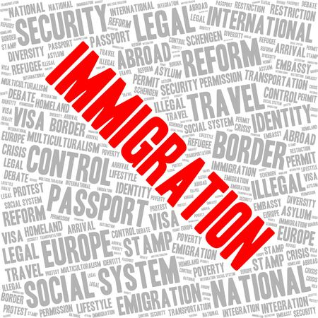 Immigration word cloud concept in a shape of square. Immigration tag is red and other tags are grey.