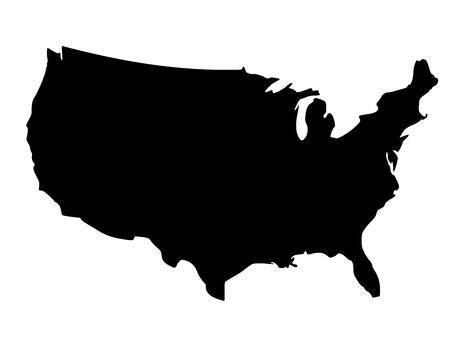 Solid black silhouette map of United States of America without Alaska and islands, vector illustration