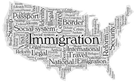 reform: Immigration word cloud concept in a shape of United States silhouette. Black text on grey map.
