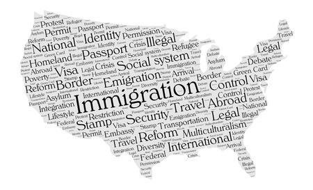 permit: Immigration word cloud concept in a shape of United States silhouette. Black text on grey map.