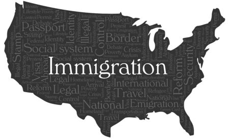 assimilation: Immigration word cloud concept in a shape of United States silhouette. Dark grey text on grey map wwith higlighted immigration word