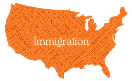 assimilation: Immigration word cloud concept in a shape of United States silhouette. Dark orange text on orange map wwith higlighted immigration word Illustration