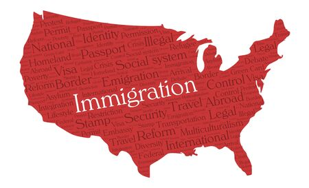 Immigration word cloud concept in a shape of United States silhouette. Dark red text on red map with higlighted immigration word