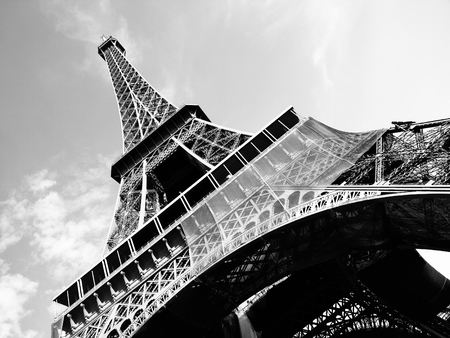 black and white: Detailed bottom view of Eiffel tower, Paris, black and white image