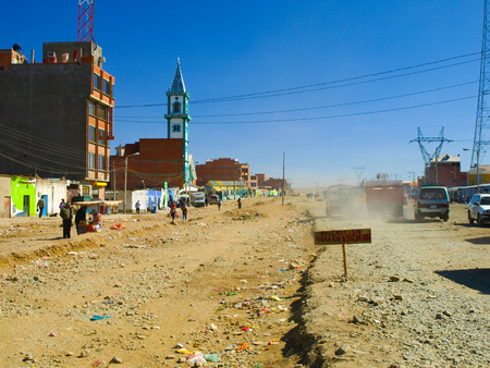 la paz: Dusty street and new church in sunny day, El Alto, La Paz, Bolivia