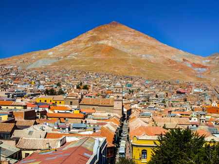 cerro: Cerro Rico and rooftops of Potosi centre, view from Cathedral, Bolivia