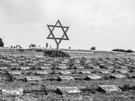terezin: Cemetery near Small Fortress in Terezin, Czech Republic, black and white image