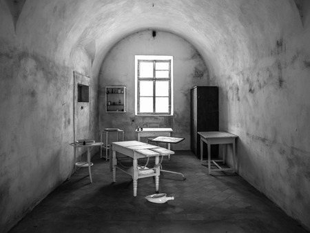 abandoned room: Vintage medical office in old abandoned hospital. Black and white image Stock Photo