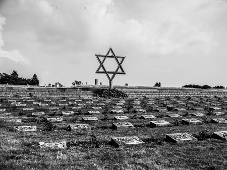 Cemetery near Small Fortress in Terezin, Czech Republic, black and white image