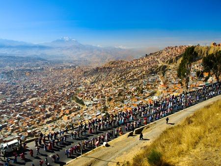 la paz: Protest walkout in scenery of La Paz, Bolivia