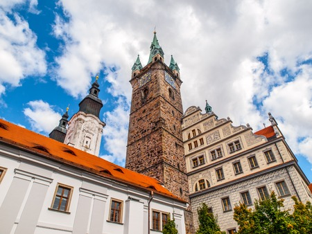 old town guildhall: Black Tower and Town Hall in Klatovy, Czech Republic