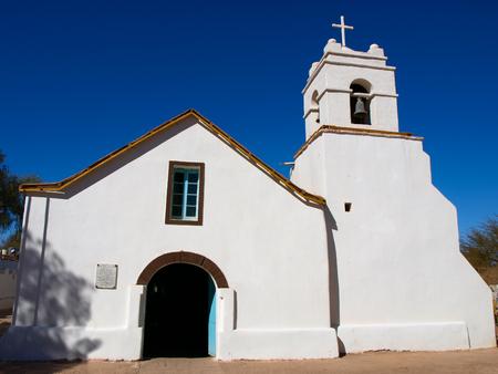 colonial church: Little white colonial church of St. Peter, San Pedro de Atacama, Chile