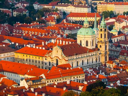 st nicholas cathedral: St Nicholas Cathedral in Lesser Town of Prague, Czech Republic Stock Photo