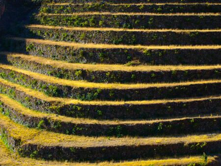 urubamba valley: Terraced fields as a part of incan agricultural system in Urubamba valley and Machu Picchu, Peru Stock Photo
