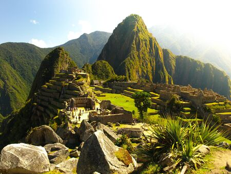 Historic Sanctuary of Machu Picchu above Sacred Valley of Urubamba Valley in Peru