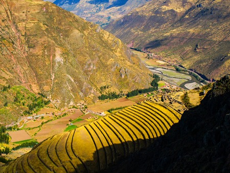 urubamba valley: Terraces as a part of incan agricultural system in Pisac in Urubamba valley near Cusco, Peru