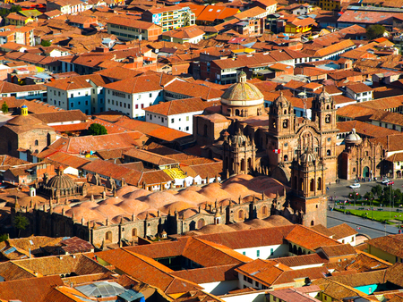 plaza de armas: Aerial view of Cathedral on Plaza de Armas, Cusco, Peru