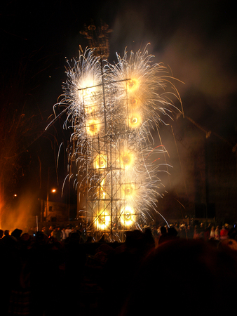 latin america: Fireworks made of bamboo structures is typical part of celebrations in Latin America, Peru