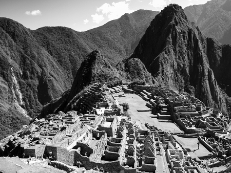 history architecture: Historic Sanctuary of Machu Picchu above Sacred Valley of Urubamba Valley in Per