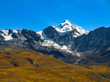 capped: View of Huayna Potosi mountain in Cordillera Real near La Paz, Bolivia Stock Photo