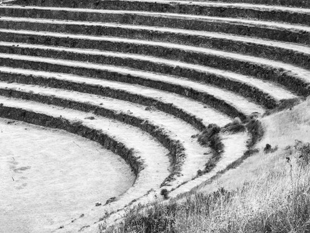 urubamba valley: Terraced fields as a part of incan agricultural system in Urubamba valley and Machu Picchu, Peru. Black and white image.