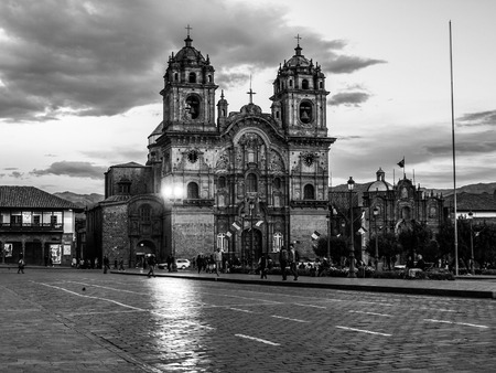 iglesia de la compania: Church of the Society of Jesus - in spanish Iglesia La Compania de Jesus, Cusco, Peru. Black and white image.