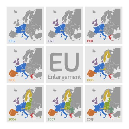 eec: Vector maps of European Union Enlargements. Each enlargement has different color.