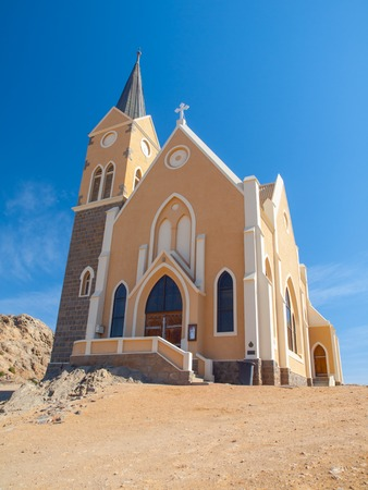 unique characteristics: German colonial church in namibian Luderitz, Namibia Stock Photo