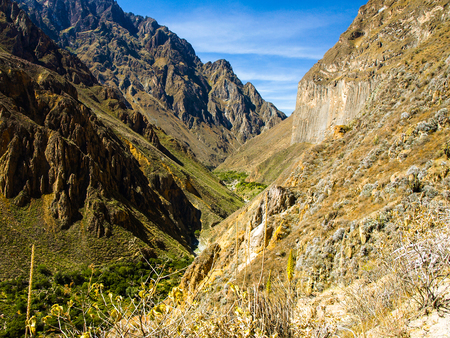 the deepest: View of the deepest parts of Colca Canyon near Cabanaconde in Peru