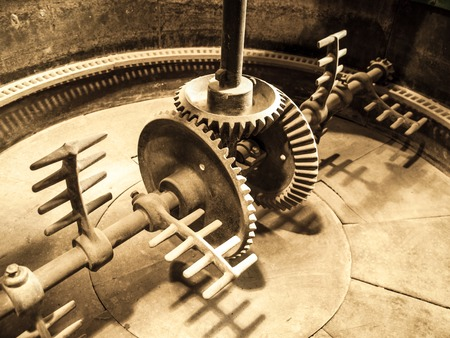 distillate: Mixing machinery in old mash tank in beer brewery