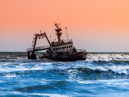 shipwreck: Shipwreck on Skeleton Coast of Atlantic Ocean in Namibia