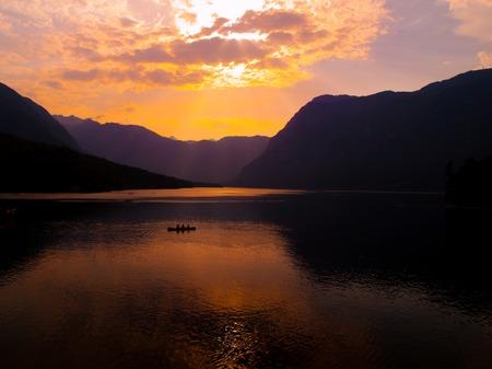 bohinj: Twilight on mountain lake Bohinj in Julian Alps, Slovenia